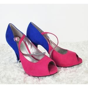 X•Appeal swank suede pink and blue heels